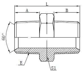 Adaptoare masculine NPT hidraulice Desen